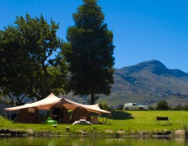 Wolfkop Camping village at river and mountains 2